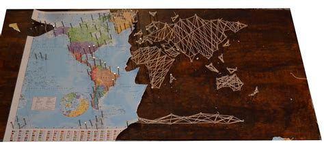 Diy World Map Wood Strings Music Center